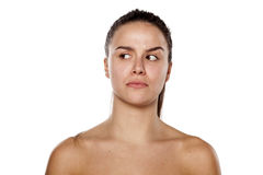 Jealous woman without make up Royalty Free Stock Images