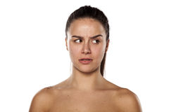 Jealous woman without make up Royalty Free Stock Photo