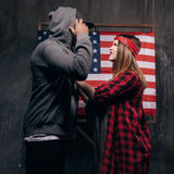 Jealousy in the American family. Conflict Royalty Free Stock Photography