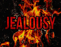 Jealousy Concept. Jealousy letter burning typographic concept design illustration in grunge style in hot red colors in black background Royalty Free Stock Image