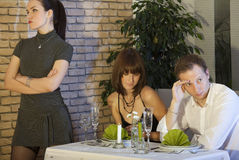 Jealousy scene in restaurant Royalty Free Stock Images