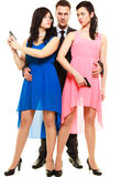 Jealousy between women relationship in triangle. Stock Photography