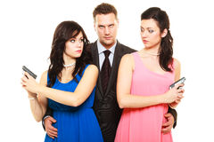 Jealousy between women relationship in triangle. Stock Images