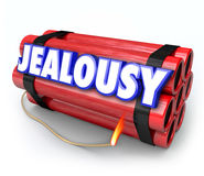 Jealousy Word Envy Resentment Time Bomb Explosive Anger Danger. Jealousy word on a time bomb of dynamite about to explode with envy, resentment, anger Royalty Free Stock Photo