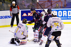 Jean Aubin Goalie and Darcy Campbell  of HC Valpusteria  and Tommaso Migliore and Bradley Schell of HC Milano during a game Royalty Free Stock Image