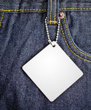 Jean background with blank tag 2 Stock Photo