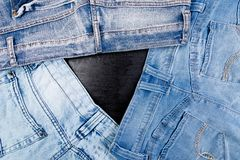 Jean background. Denim blue jean texture. Concept for fashion. Copy space. Frame Royalty Free Stock Photo
