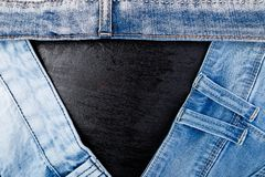 Jean background. Denim blue jean texture. Concept for fashion. Copy space. Frame Stock Photography
