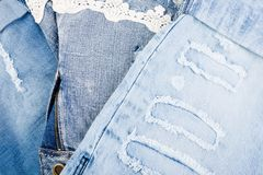 Jean background. Denim blue jean texture. Concept for fashion. Copy space. Frame Royalty Free Stock Photography