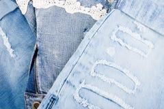 Jean Background Textura azul de la mezclilla del dril de algodón fotografía de archivo libre de regalías