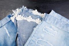 Jean Background Textura azul de la mezclilla del dril de algodón concepto para la moda Copie el espacio Capítulo imagen de archivo