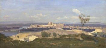 Jean-Baptiste-Camille Corot - Avignon från det västra royaltyfri foto
