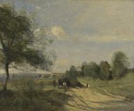 Jean-Baptiste-Camille Corot - The Wagon Souvenir of Saintry royalty free stock images