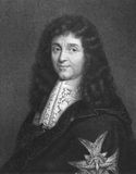 Jean-Baptiste Colbert. (1619-1683) on engraving from the 1800s. French minister of finance during 1665-1683. Engraved by W.Holl from a painting by P.Mignard and Royalty Free Stock Photo