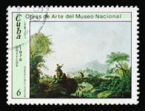 Jean-Baptiste Pillement, `Landscape with Figures`, Paintings from the National Museum serie, circa 1978. MOSCOW, RUSSIA - AUGUST 18, 2018: A stamp printed in royalty free stock photo