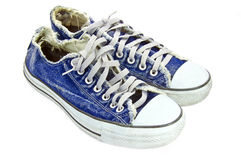 Jean canvas shoes Royalty Free Stock Images