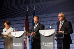 Jean-Claude Juncker and Donald Tusk Royalty Free Stock Photo