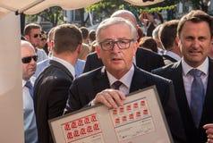 Jean-Claude Juncker e Xavier Bettel fotografia stock libera da diritti