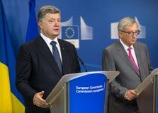 Jean-Claude Juncker en Petro Poroshenko Stock Foto's