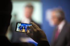 Jean-Claude Juncker en Petro Poroshenko Royalty-vrije Stock Foto's