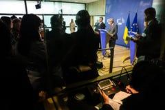 Jean-Claude Juncker en Petro Poroshenko Stock Fotografie