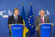 Jean-Claude Juncker en Petro Poroshenko Royalty-vrije Stock Fotografie