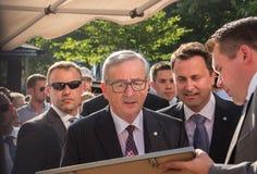 Jean-Claude Juncker en Xavier Bettel stock afbeeldingen
