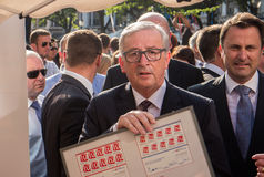 Jean-Claude Juncker en Xavier Bettel royalty-vrije stock foto