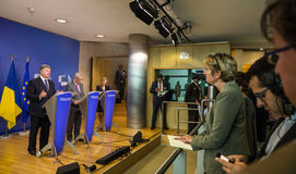 Jean-Claude Juncker et Petro Poroshenko Photos libres de droits