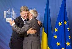 Jean-Claude Juncker et Petro Poroshenko Photographie stock libre de droits