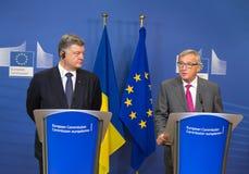 Jean-Claude Juncker och Petro Poroshenko Royaltyfria Foton