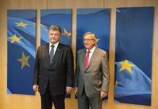 Jean-Claude Juncker und Petro Poroshenko Lizenzfreie Stockfotos