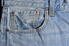 Jean detail with empty pocket Stock Image