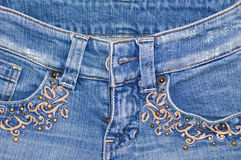 Jean with embroidery stock photography