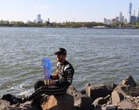 Jean-Eric Vergne FRA of DS Techeetah Team celebrates historic two-time FIA Formula E World Championship title in New York. NEW YORK - JULY 14, 2019: Jean-Eric royalty free stock photography