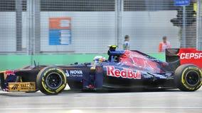 Jean Eric Vergne som är tävlings- i GP för F1 Singapore Royaltyfri Bild