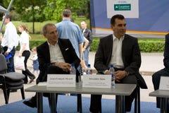 Jean-Francois Myard and Alexander Koss. 15 may 2010 Chishinau. Moldova is celebrated Europe Day. Jean-Francois Myard and Alexander Koss, on the press confernce stock photo