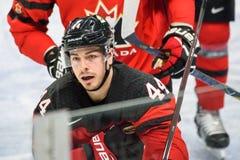JEAN-GABRIEL PAGEAU podczas gry między drużynowym Latvia Kanada i drużyną, Zdjęcie Royalty Free