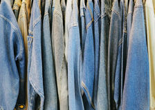 Jean on Hanger. Jeans jecket hanging on Hanger Royalty Free Stock Image