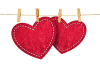 Jean hearts on rope Royalty Free Stock Images