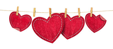 Jean hearts on rope Royalty Free Stock Photo
