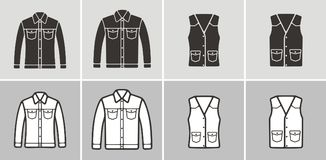 Jean jacket and vest icon Stock Photos