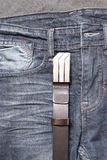 Jean and leather belt Stock Photo