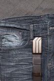 Jean and leather belt Royalty Free Stock Image