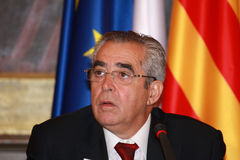 Jean-Marc Pujol, elected today Mayor of Perpignan. The new Mayor of Perpignan's Jean-Marc Pujol, elected today Mayor of Perpignan as a replacement of Senator Stock Images