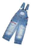 Jean overalls. Children's wear - jean overalls isolated over white background Stock Photo