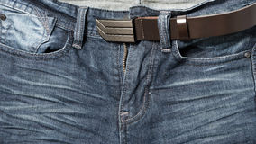 Jean pant with leather belt Royalty Free Stock Photos