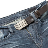 Jean pant with leather belt Royalty Free Stock Image