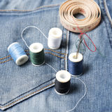 Jean pants and sewing Royalty Free Stock Image