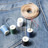 Jean pants and sewing Royalty Free Stock Photos